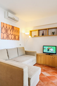 Wohnzimmer mit TV und Schlafcouch